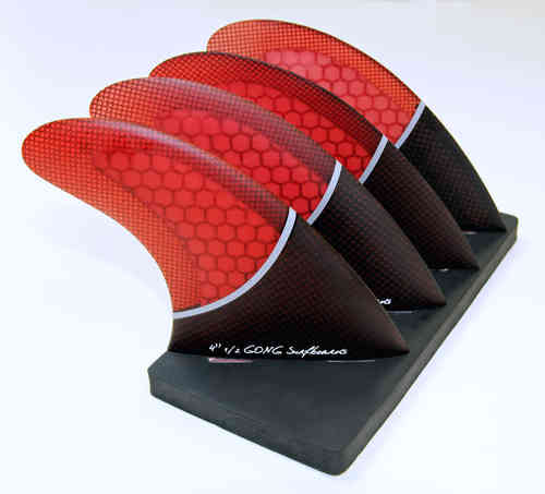GONG SET QUAD FIN RED 115mm 4'' 1/2