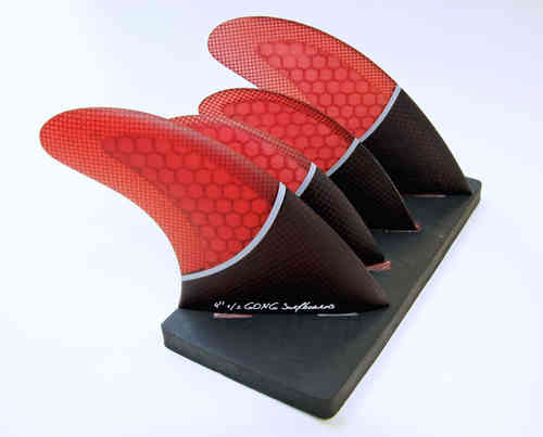 "GONG SET QUAD FIN RED 115mm 4'' 1/2 / 90mm 3"" 1/2"