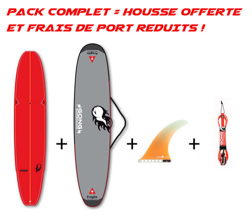 GONG PACK INCREDIBLE TEN 10'0 BAMBY + HOUSSE + LEASH + US FIN FCS II FLOW PG ORANGE 11""