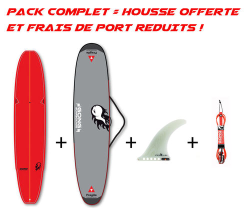 PACK GONG INCREDIBLE TEN 10'0 BAMBY + HOUSSE + LEASH + US FIN FCS II FLOW PG CLEAR 10""