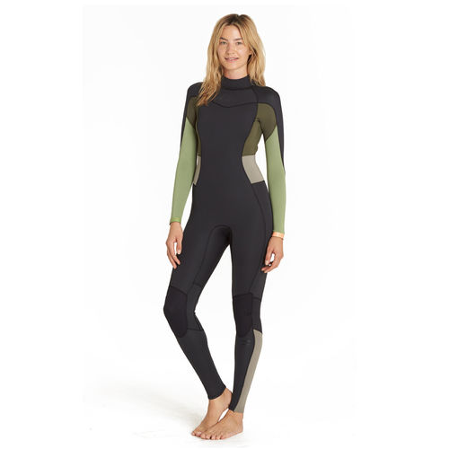 BILLABONG INTEGRALE FEMME SYNERGY 4/3 BACK ZIP GREEN TEA