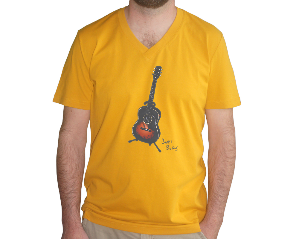 Guitare 1948 T-shirt Homme Indian Yellow col V
