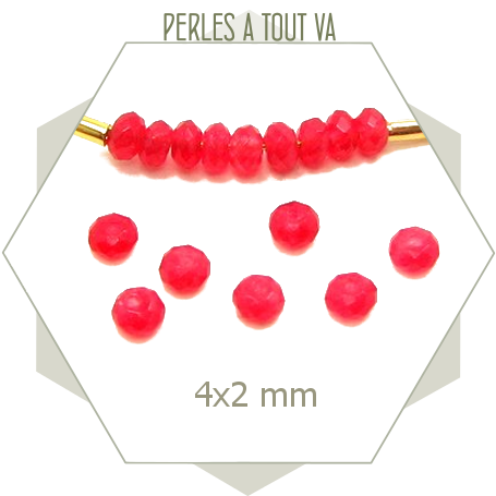 50 perles de jade 4x2 mm rouge grenadine
